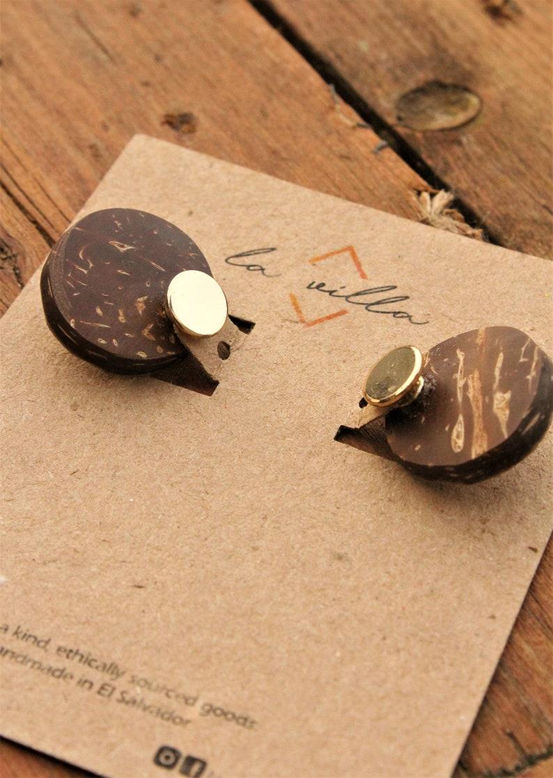 Frontback Coconut Shell  Earrings