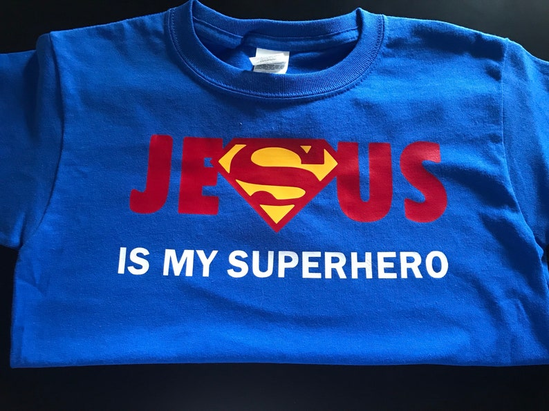 554e9f89 Adult Jesus is my Superhero T-Shirt   Etsy