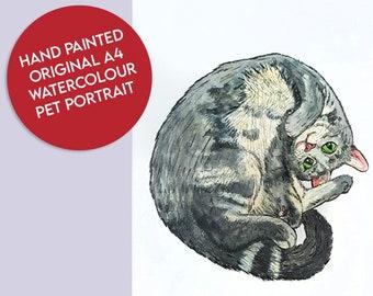 Custom Pet Portrait Original Bespoke A4 Hand - Painted  Watercolour and Fine Liner Illustration Painting