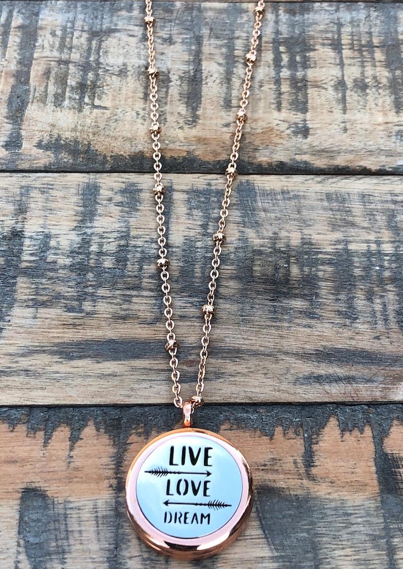 Live Love Dream Essential oil Diffuser~ Rose Gold oil Diffuser~ Inspirational Gift Diffuser Necklaces