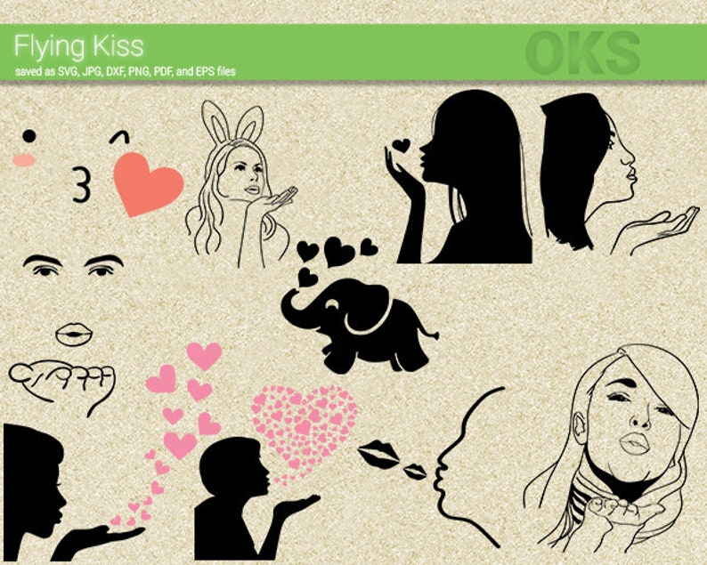 Flying Kiss Svg Download Blowing Kisses Clipart Blow Kiss Etsy