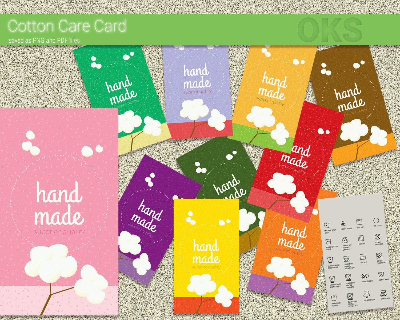 Cotton Care Card Washing Instruction Laundry Icons Laundry Etsy
