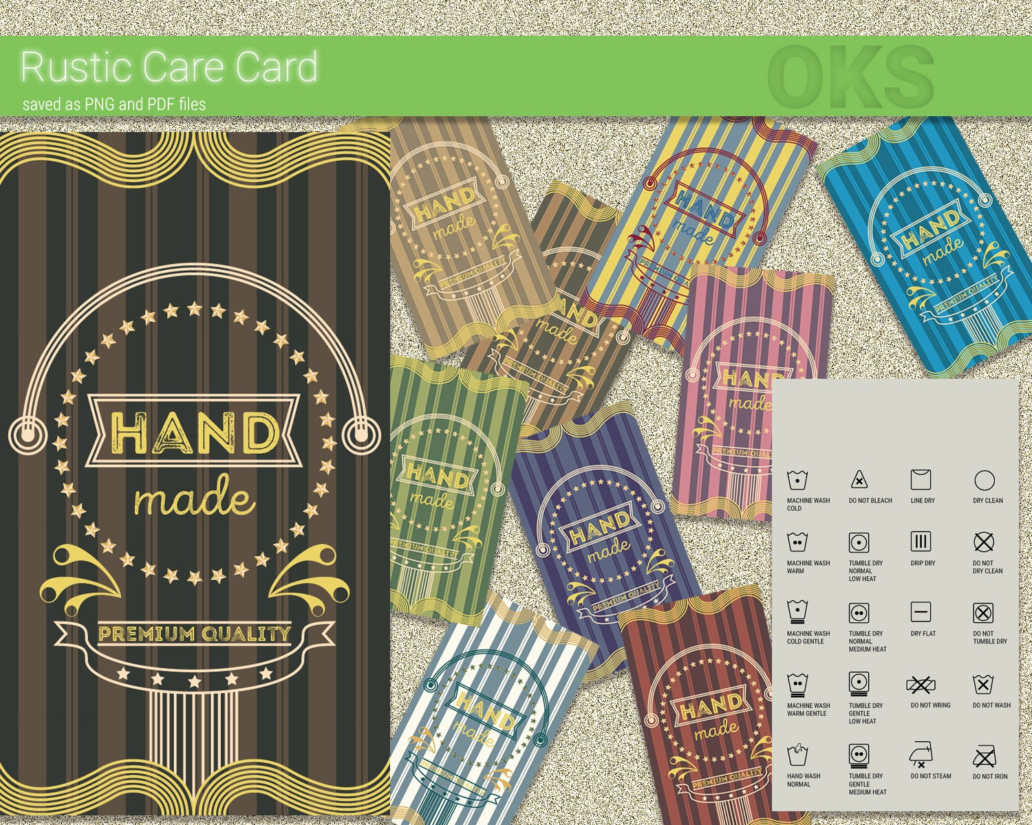 Rustic Laundry Care Cards Washing Instructions Download Etsy