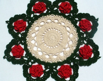 Red Roses Crocheted Doily