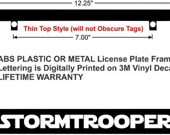 Stormtrooper Academy School Of..Star Wars Glossy Black License Plate Frame Caps