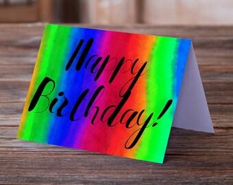Rainbow DIY Birthday Card Simple Print At Home A7 Happy Download PDF JPG Printable Color To Edge