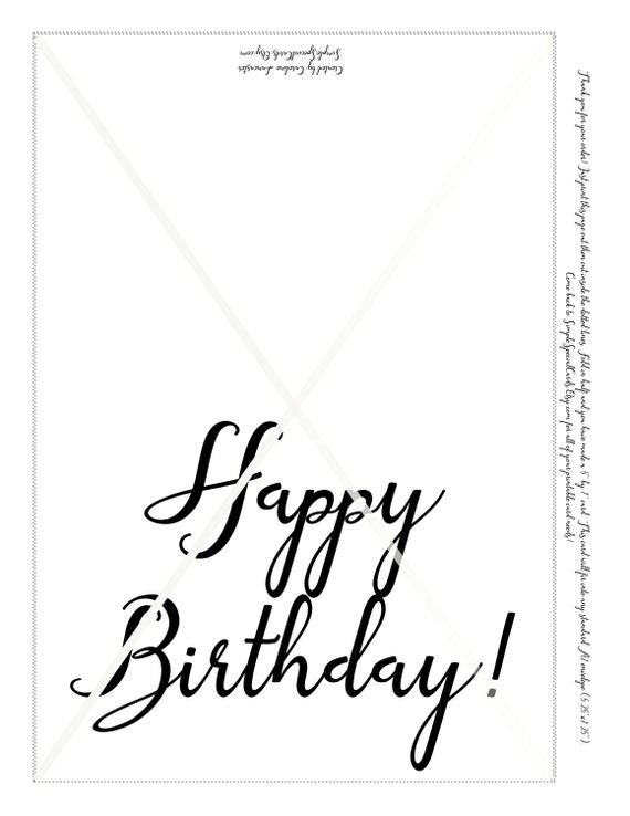 Printable Birthday Card Black And White Simple