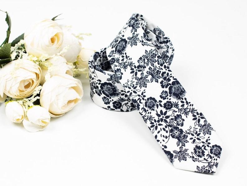 f494f340f7ed White And Black Floral Skinny Tie Skinny Tie Black Floral   Etsy
