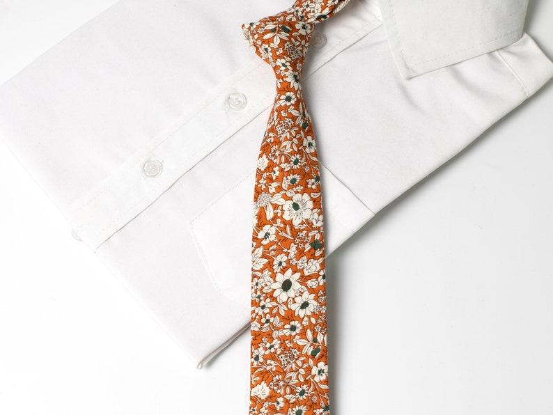 979cd7e1d14b Orange Floral Skinny Ties For Men Ties Floral For Men White   Etsy
