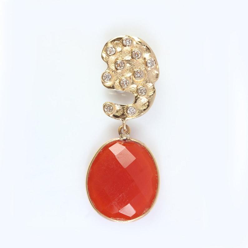 Orange Onyx Gemstone Natural Diamond Setting Pendant Solid 18K Yellow Gold Designer Handmade Fine Valentine Gift  Jewelry JayporeCreations