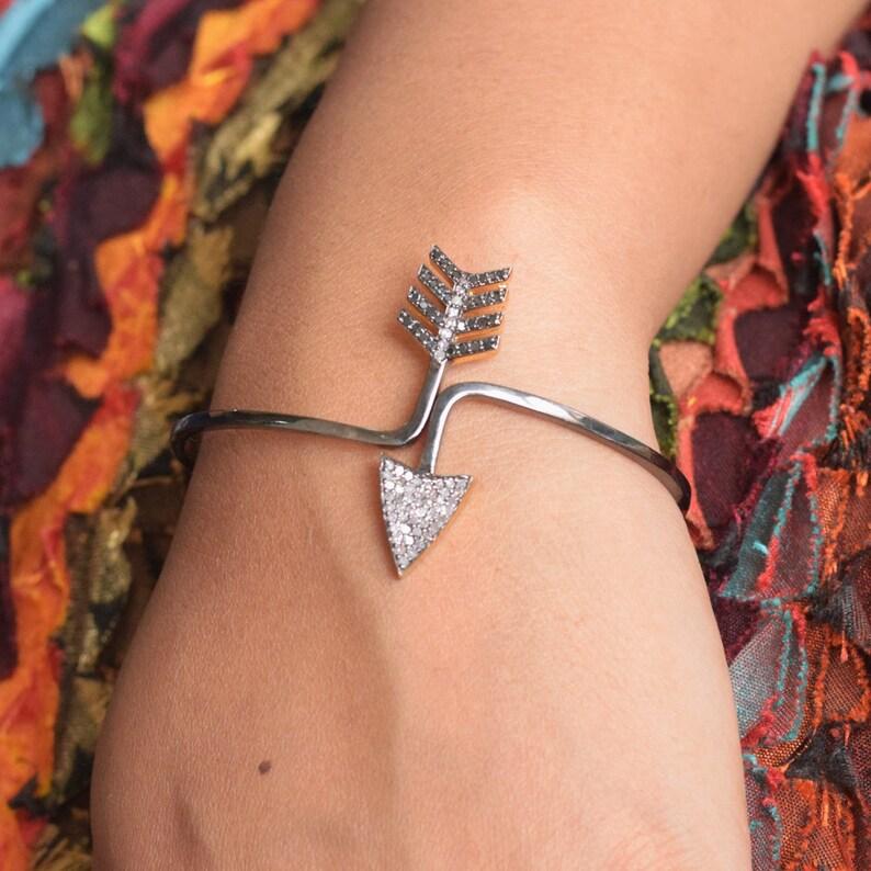Arrow Designer 14K Gold Fashion Op enable  Bracelet 925 Sterling Silver Diamond Pave Wedding Bangle Handmade Women Jewelry JayporeCreations