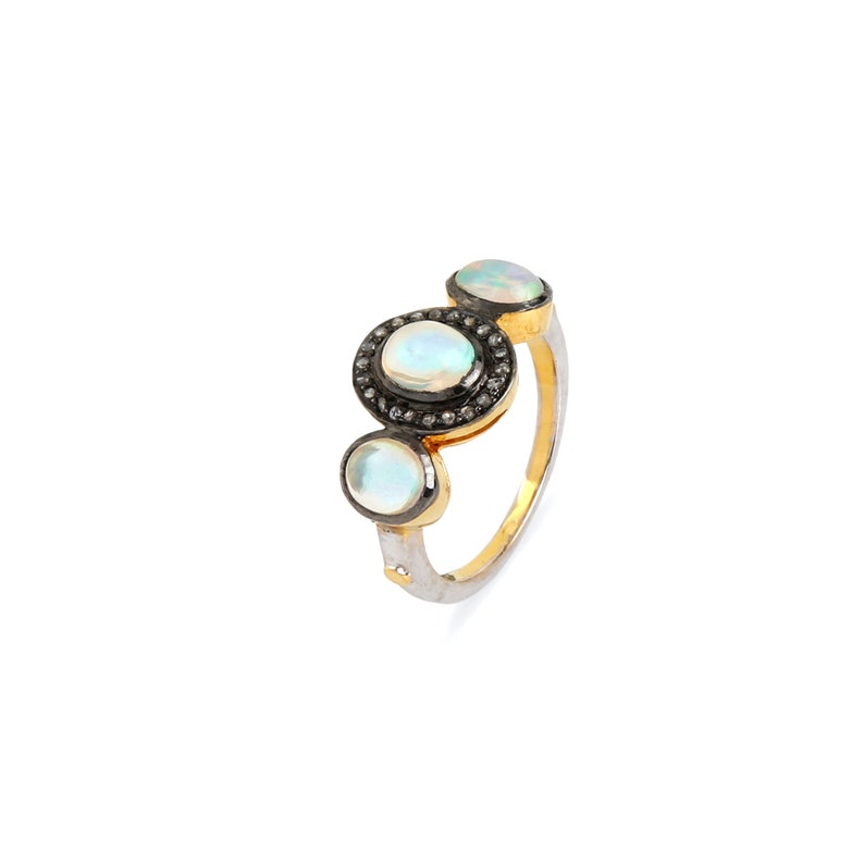 Opal Gemstone 14K Gold Three Stone Wedding Promise Proposal Ring 925 Sterling Silver Diamond Pave Engagement Ring Valentine Fine Jewelry New