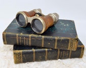 Vintage leather Jockey Club Paris binocular opera glasses book vignettes mens binocular bookshelf decor