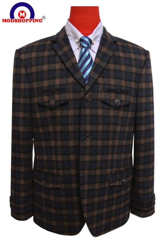 Men's Vintage Style Clothing  Check Mod Blazer|Wool 60s Mod Brown Blazer Jacket For Men $189.97 AT vintagedancer.com