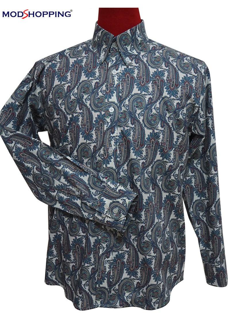 Mens Vintage Shirts – Casual, Dress, T-shirts, Polos Paisley shirt multi color $61.10 AT vintagedancer.com