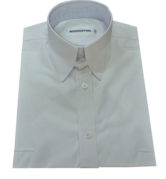 1960s – 70s Mens Shirts- Disco Shirts, Hippie Shirts Tab collar shirt | White tab collar shirt for man $61.50 AT vintagedancer.com