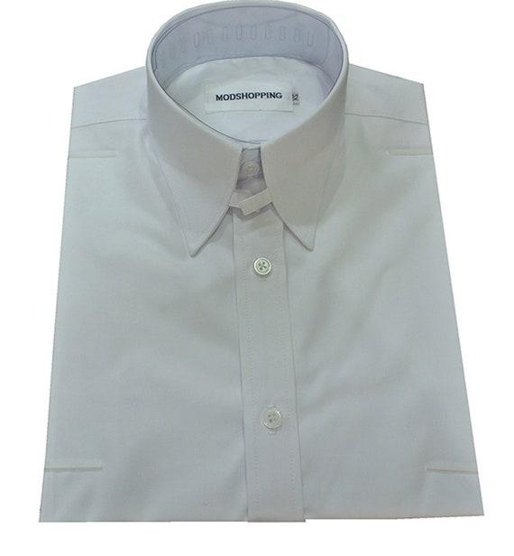 Men's Vintage Style Shirts Tab collar shirt | White tab collar shirt for man $61.50 AT vintagedancer.com