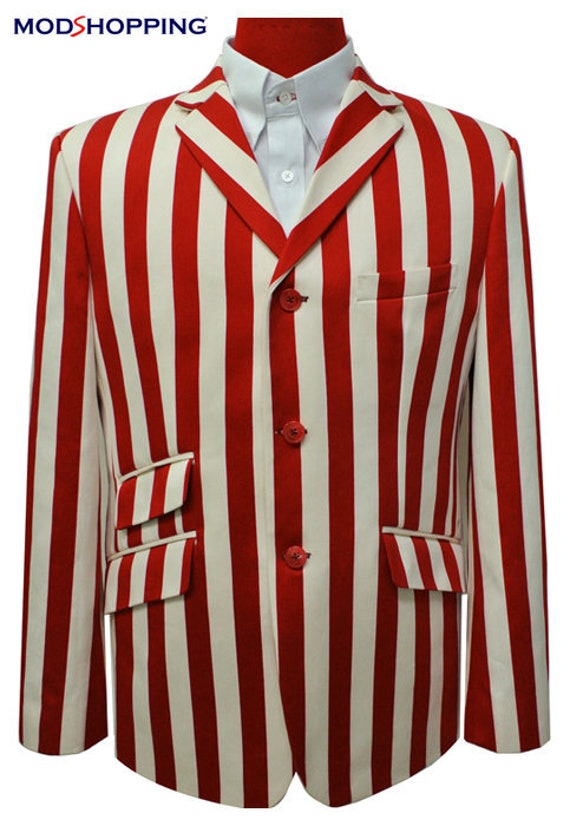 1920s Men's Suits History Boating jacket | 60S Red Stripe Boating Blazer $189.97 AT vintagedancer.com