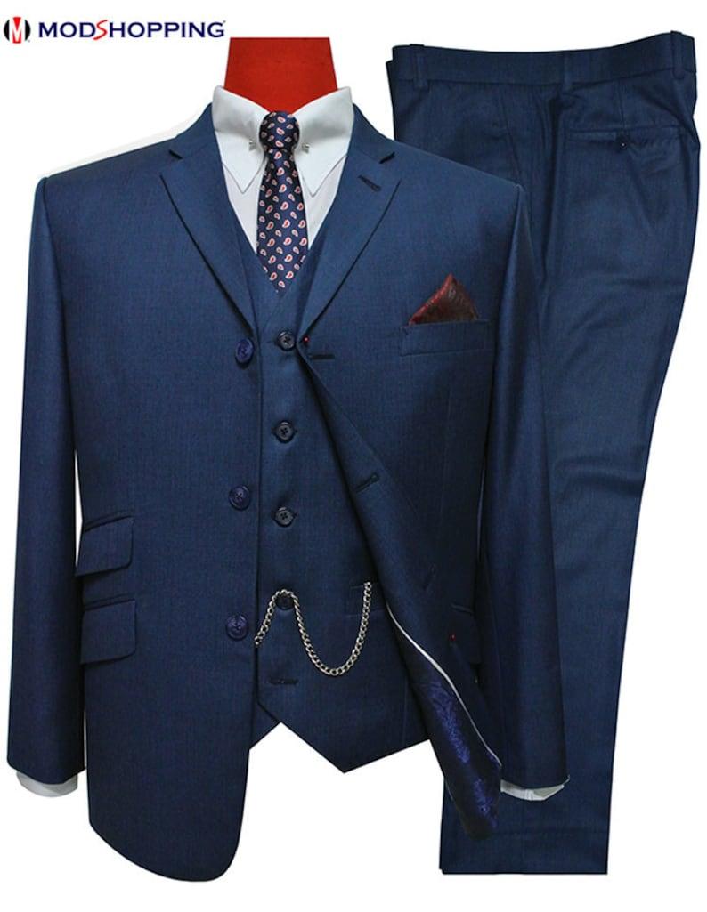 Mens 3 Piece Suitvintage Style Tailored Uk Pete Blue Mod 3 Etsy