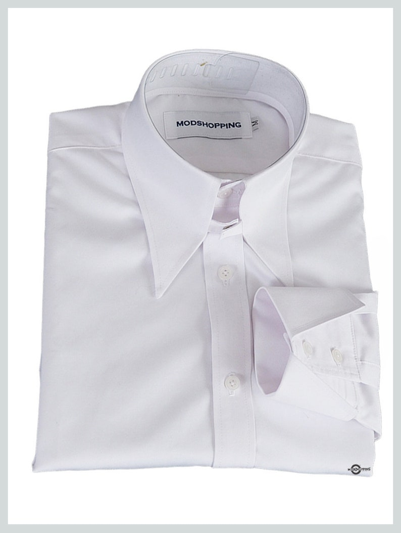 1960s Mens Shirts | 60s Mod Shirts, Hippie Shirts Tab collar shirt | White tab collar shirt for man $64.58 AT vintagedancer.com