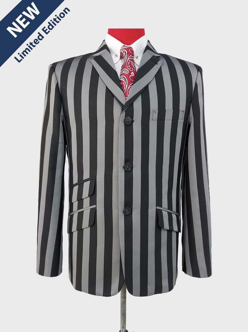 1960s Mens Suits | 70s Mens Disco Suits Black and gray stripe blazer | Black and gray stripe 60s tailored mod style blazer $206.57 AT vintagedancer.com