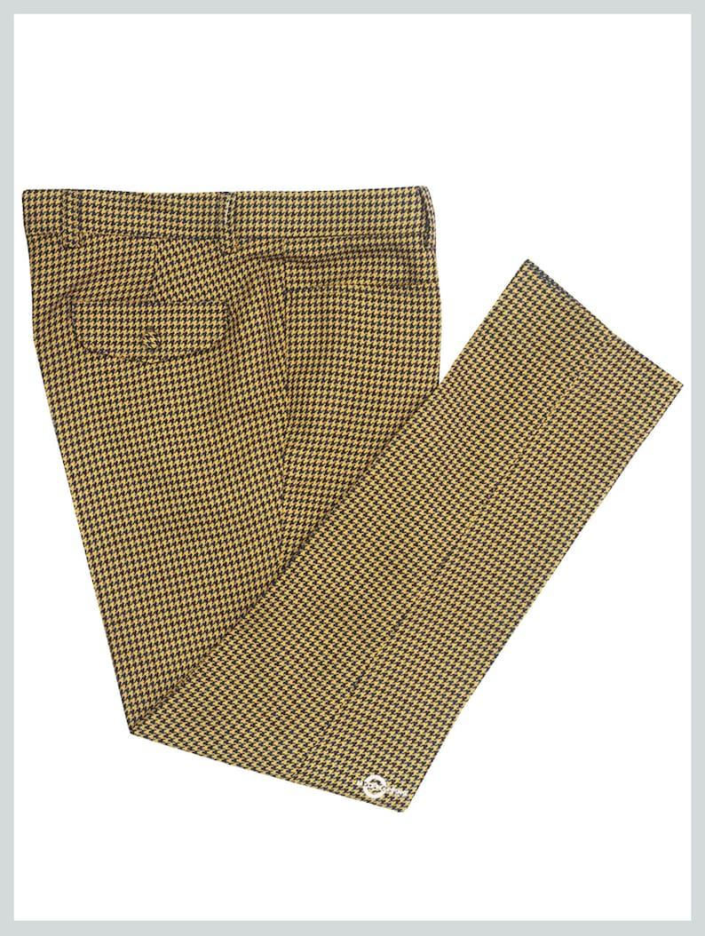 60s – 70s Mens Bell Bottom Jeans, Flares, Disco Pants Vintage Big Dog-Tooth Brown Trouser $127.73 AT vintagedancer.com