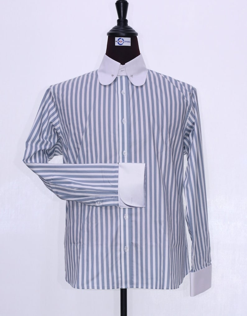1960s Mens Shirts | 60s Mod Shirts, Hippie Shirts 60s Mod Style Grey And White Stripe Shirt For Men $64.58 AT vintagedancer.com