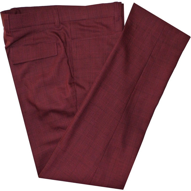 Vintage Inspired Dresses & Clothing UK 60s  Mod Pow Check Burgundy Trouser $87.54 AT vintagedancer.com