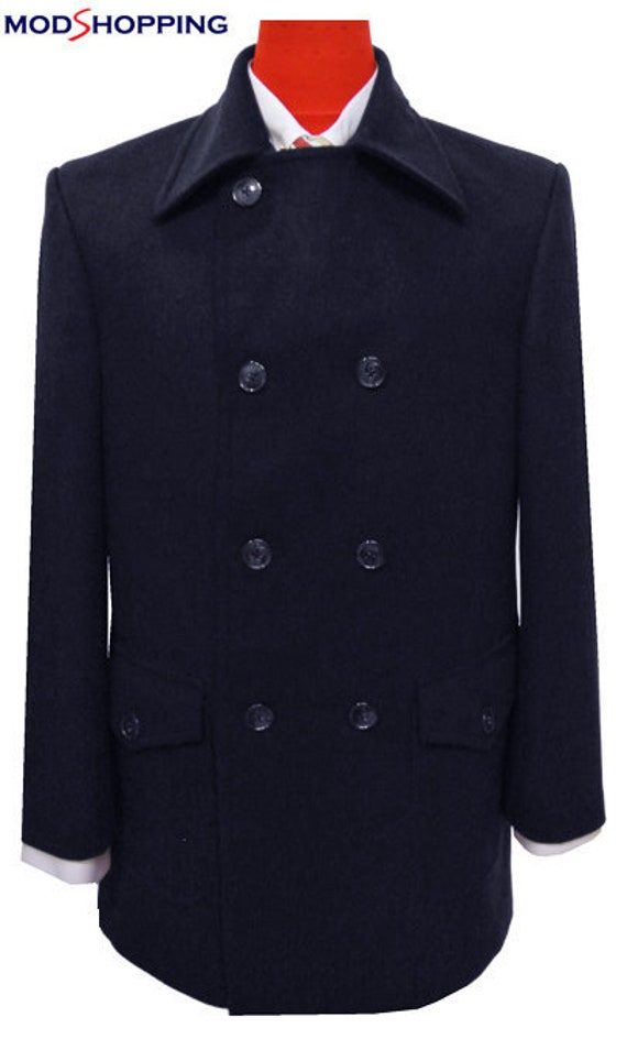 60s 70s Men's Jackets & Sweaters Navy Blue Pea Coat $225.50 AT vintagedancer.com