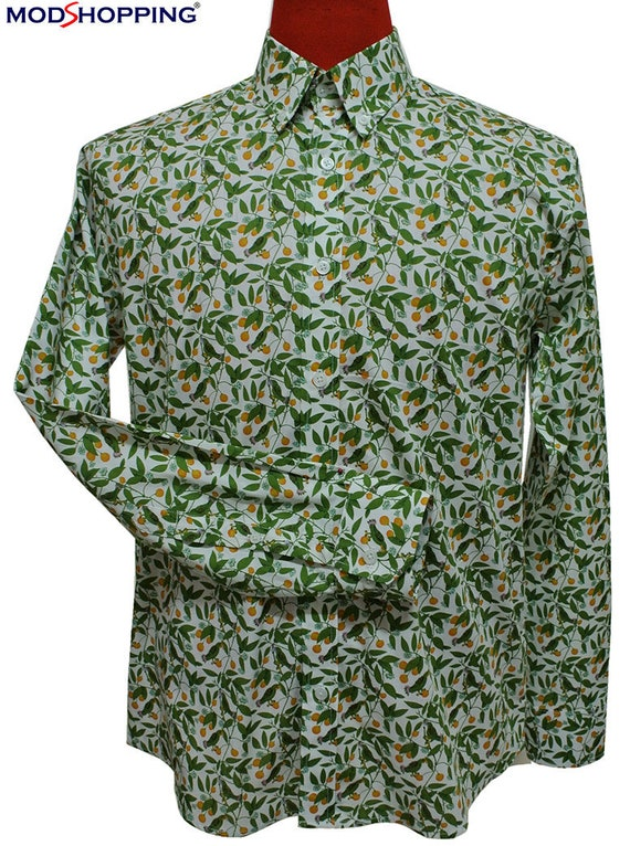 1960s – 70s Mens Shirts- Disco Shirts, Hippie Shirts Lime Green Floral Shirt $61.50 AT vintagedancer.com