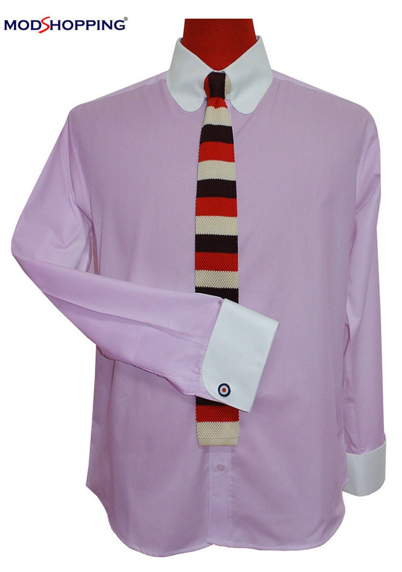 1960s – 70s Mens Shirts- Disco Shirts, Hippie Shirts Tab collar shirt | Lilac tab collar shirt for man $61.10 AT vintagedancer.com
