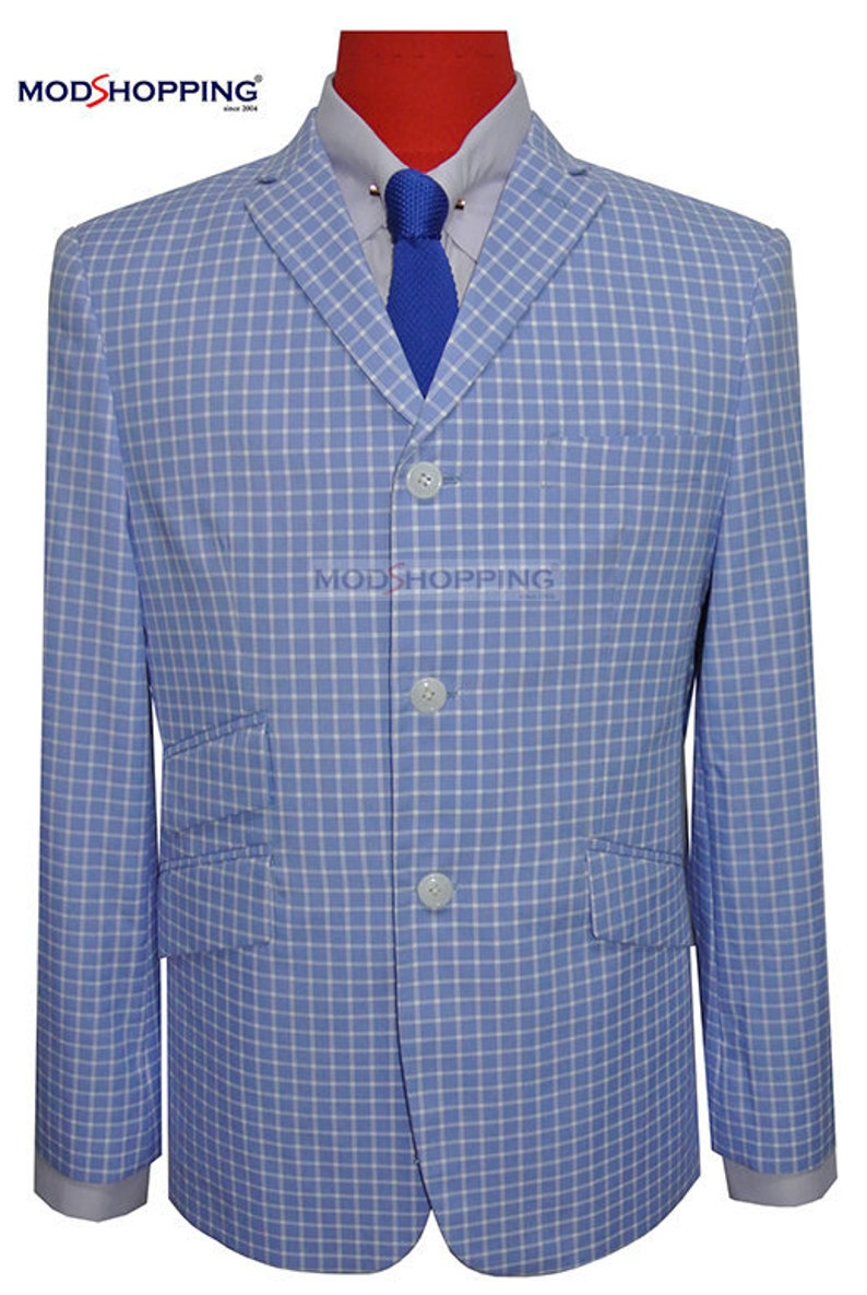 Men's Vintage Style Suits, Classic Suits Mod Blazer | Retro Small Check Mens Summer Blazer Jacket In Sky $176.35 AT vintagedancer.com