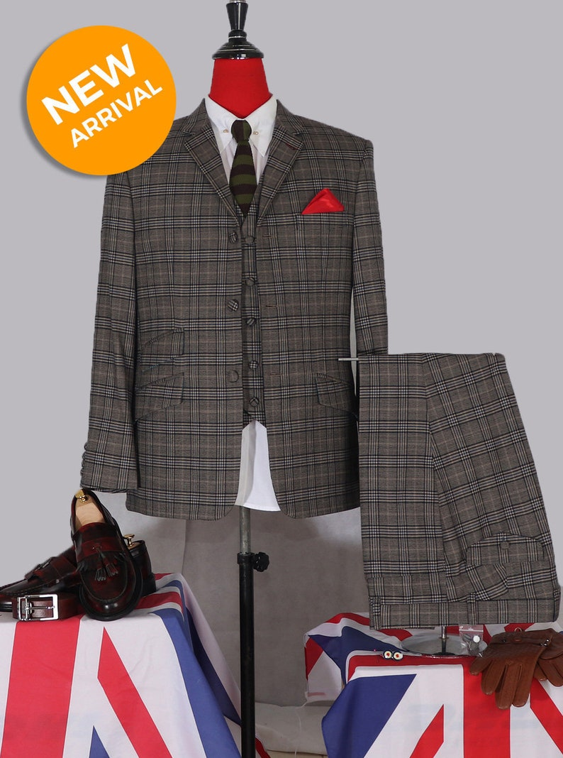 1960s Mens Suits | 70s Mens Disco Suits Prince o wales check grey 3 piece suit $404.16 AT vintagedancer.com
