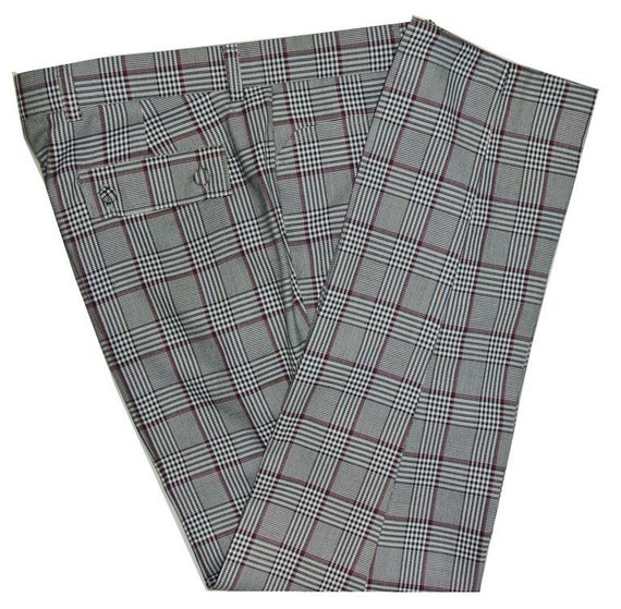 60s – 70s Mens Bell Bottom Jeans, Flares, Disco Pants Burgundy Pow Check Trouser $66.97 AT vintagedancer.com
