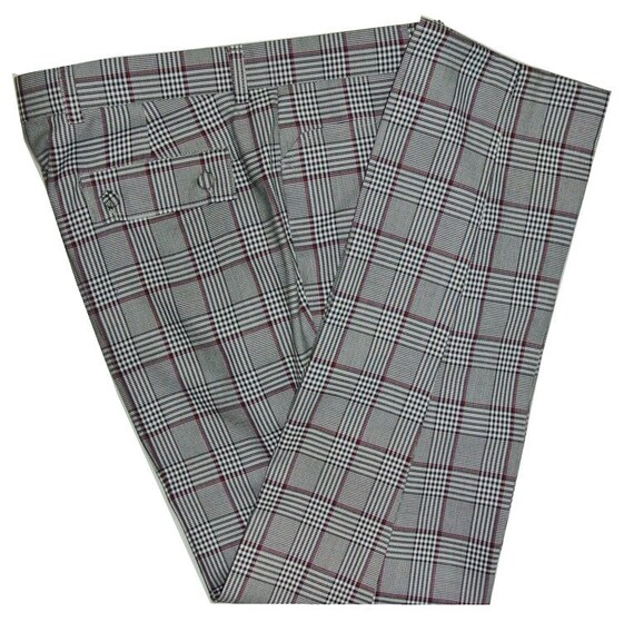 Men's Vintage Pants, Trousers, Jeans, Overalls Burgundy Pow Check Trouser $66.97 AT vintagedancer.com