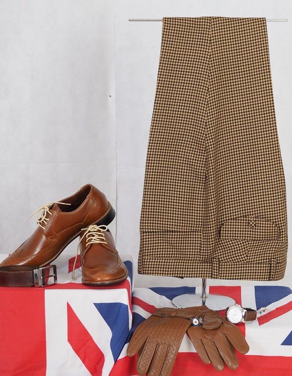 Men's Vintage Christmas Gift Ideas Vintage Big Dog-Tooth Brown Trouser $80.63 AT vintagedancer.com