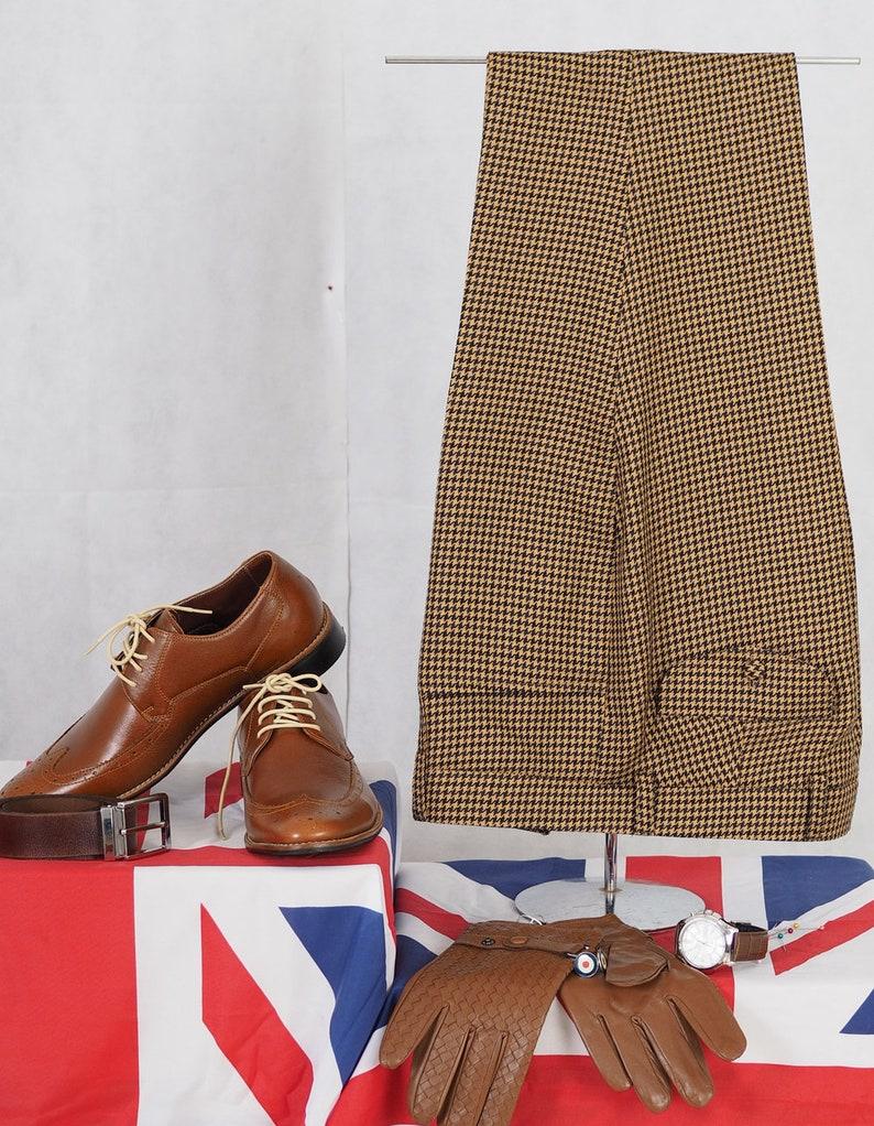 60s – 70s Mens Bell Bottom Jeans, Flares, Disco Pants Vintage Big Dog-Tooth Brown Trouser $113.90 AT vintagedancer.com