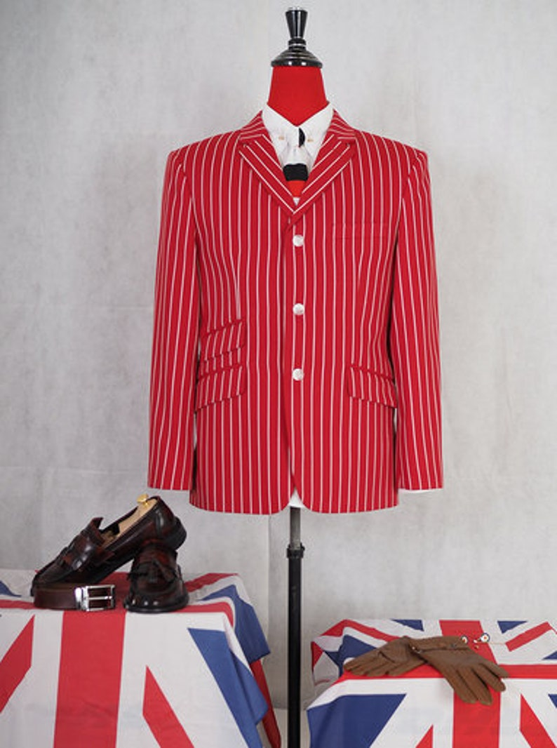 1960s Mens Suits | 70s Mens Disco Suits Red striped blazer | Vintage style mens red stripe blazer jacket $206.57 AT vintagedancer.com
