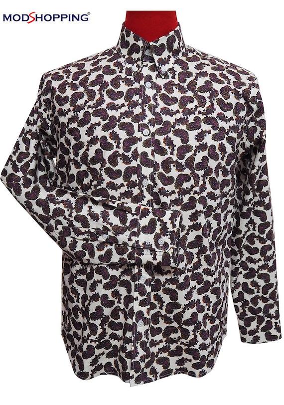 1960s – 70s Mens Shirts- Disco Shirts, Hippie Shirts Paisley shirtpurple contrast $61.50 AT vintagedancer.com