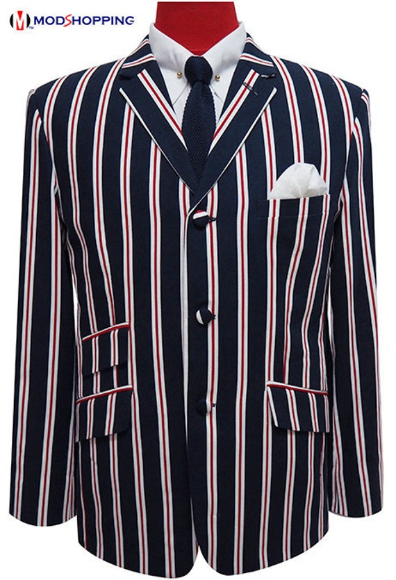 Men's Vintage Style Suits, Classic Suits Boating jacket Rick Buckler Stripe Boating Blazer $203.64 AT vintagedancer.com