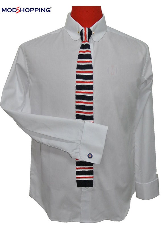 Men's Vintage Style Clothing   Penny pin collar shirt | Penny pin white shirt for man $66.97 AT vintagedancer.com