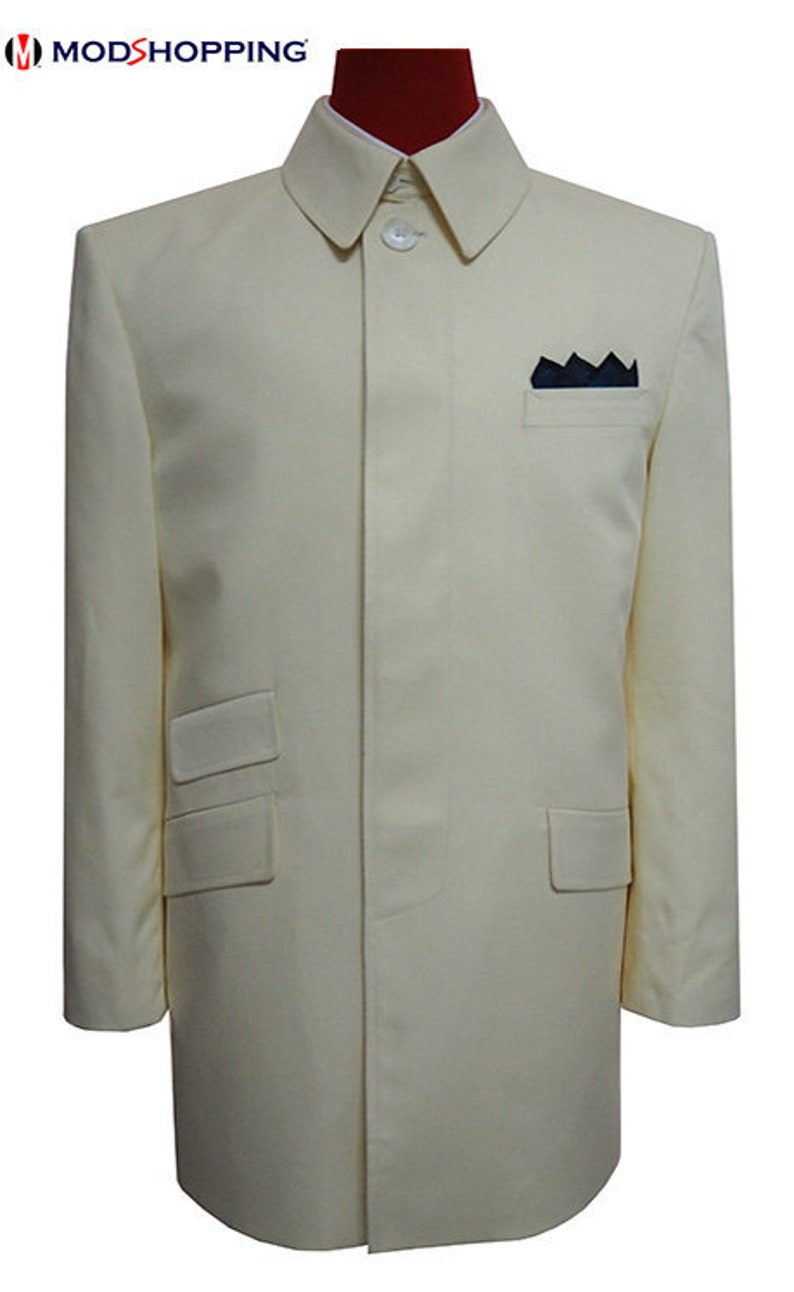 60s 70s Men's Jackets & Sweaters Vintage Cream Cotton Over Coats 70S $180.59 AT vintagedancer.com