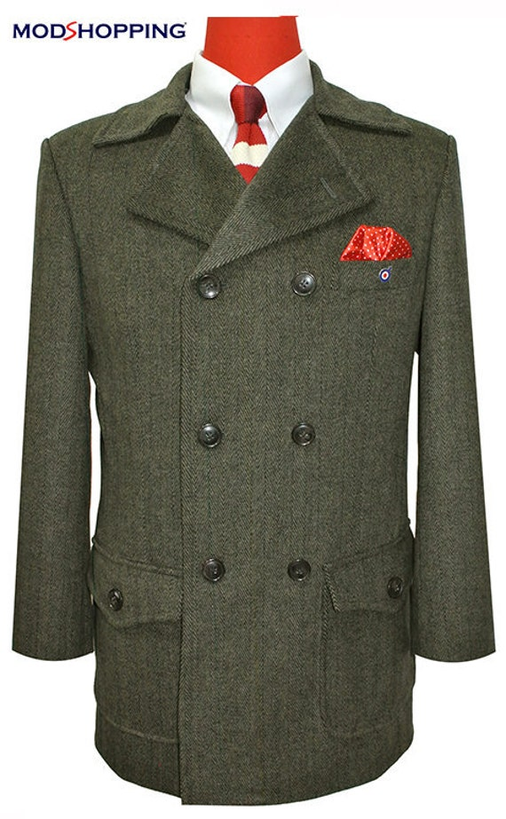 Men's Vintage Style Coats and Jackets Tweed Brown Pea Coat $225.50 AT vintagedancer.com