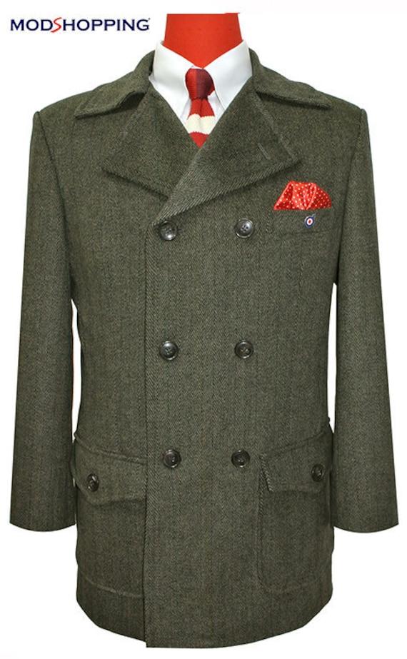 Men's Vintage Style Clothing Tweed Brown Pea Coat $225.50 AT vintagedancer.com