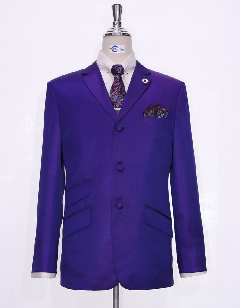 1970s Men's Suits History | Sport Coats & Tuxedos Dark Purple And Red Two Tone Suit For Men $328.65 AT vintagedancer.com