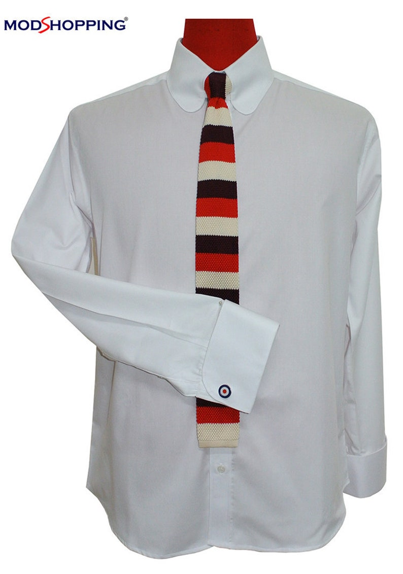 1960s – 70s Mens Shirts- Disco Shirts, Hippie Shirts Penny tab collar shirt | Penny white tab collar shirt for man $66.53 AT vintagedancer.com