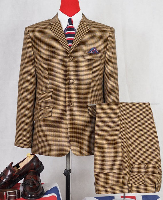 Men's Vintage Style Suits, Classic Suits Dogtooth Suit | Brown Dogtooth 3 button mod suit for men $312.97 AT vintagedancer.com