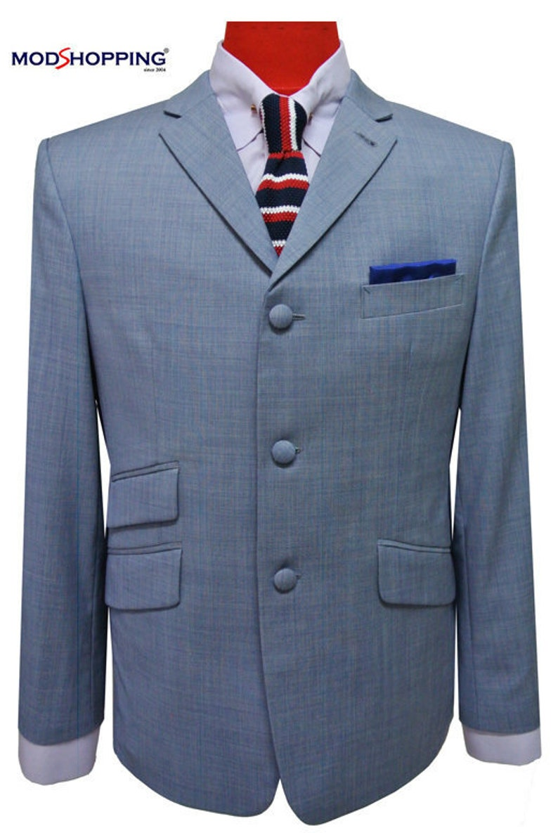 Men's Vintage Style Suits, Classic Suits Summer Jacket60s Tailored 3 Button Sky Summer Jacket For Men $176.35 AT vintagedancer.com