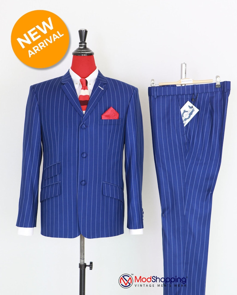 Men's Vintage Style Suits, Classic Suits Vintage classic royal blue with white striped 60s suit for men $309.54 AT vintagedancer.com