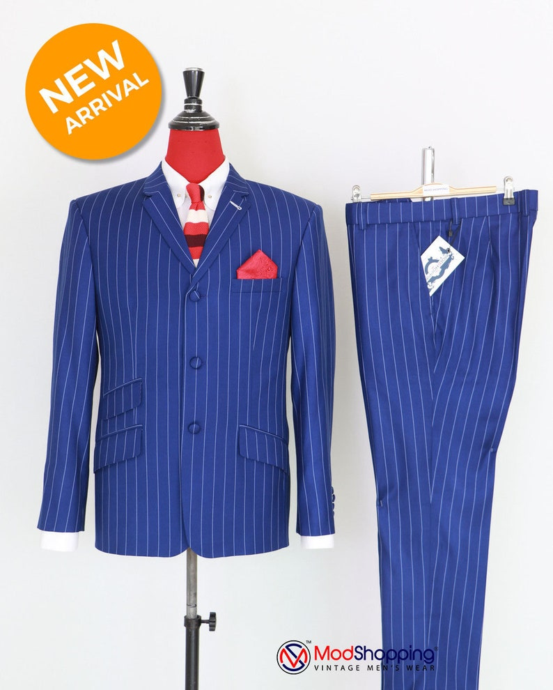 1960s Mens Suits | 70s Mens Disco Suits Vintage classic royal blue with white striped 60s suit for men $309.54 AT vintagedancer.com